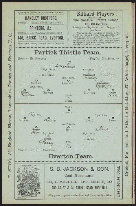 Everton v Partick Thistle match programme