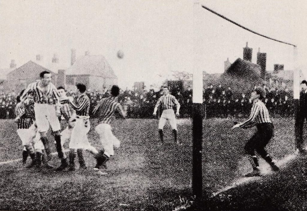 Action from the 1887 FA Cup Final, also played at the Oval, between Aston Villa and West Brom.