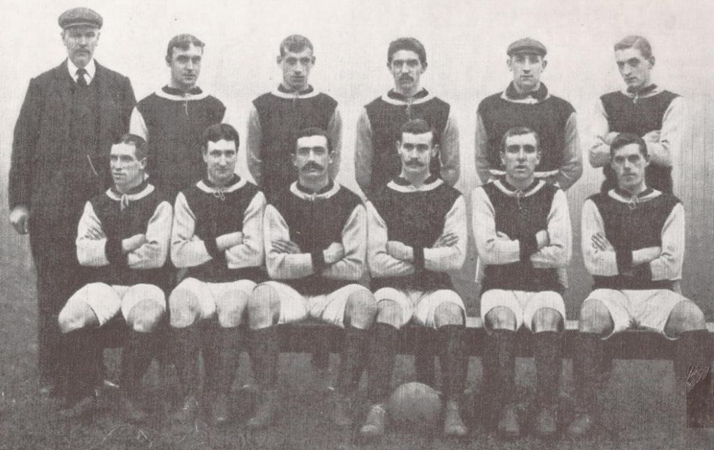 Partick Thistle, lined up against Celtic 4 November 1905 Back row (left to right): John Nutt (Trainer), Andrew Swan, David Melville, Carrick Hamilton, Willie Howden, George Gilchrist. Front row: James Sommen, Harry Wilson, Sam Kennedy, Tom Harvey, David Walker, Robert Gray.